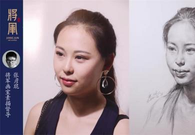 杭州将军画室张彦琨素描头像【女青年四分之三侧】