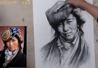 张彦琨素描头像照片写生教学视频