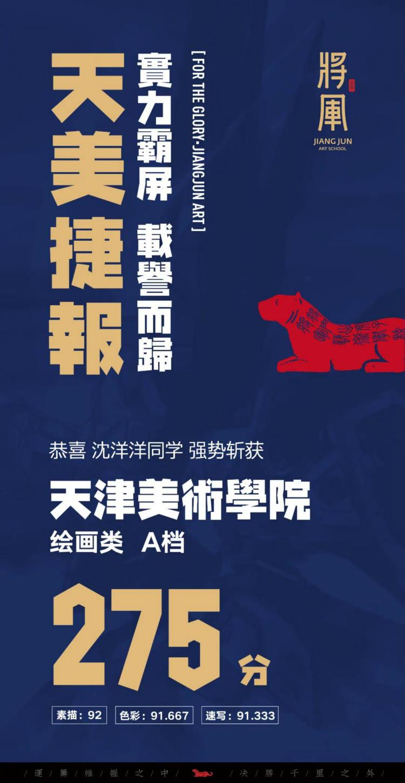 将军画室天津美术学院高分学子成绩1