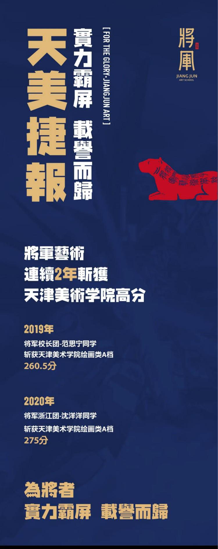将军画室天津美术学院高分学子成绩2