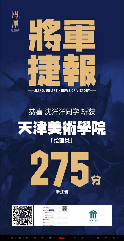 将军画室天津美术学院高分学子成绩3
