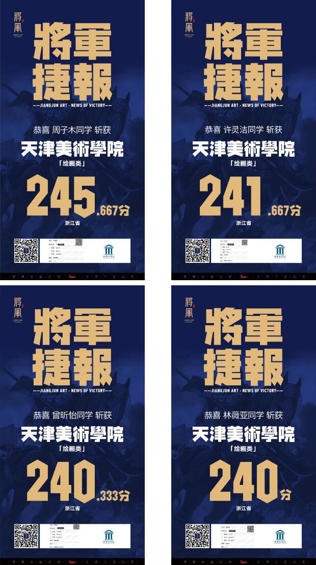 将军画室天津美术学院高分学子成绩11